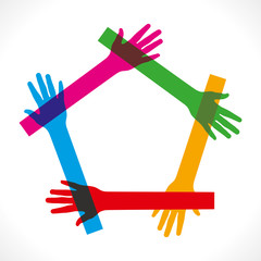join colorful hand vector