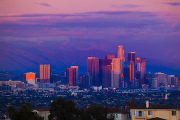 Fototapete - Downtown Los Angeles skyline sunset