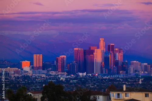 Fotobehang Downtown Los Angeles skyline sunset