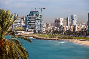 Panoramic view of Tel-Aviv beach (Mediterranean sea. Israel)