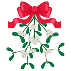 Mistletoe with red bow isolated on white background