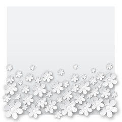 white valentine background with many flowers,  vector