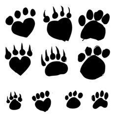 Animal foot print silhouettes