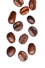 falling roasted coffee beans