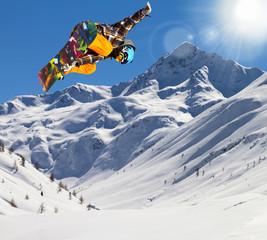 Fototapete - rider in fresh snow
