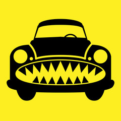 Angry car, vector illustration