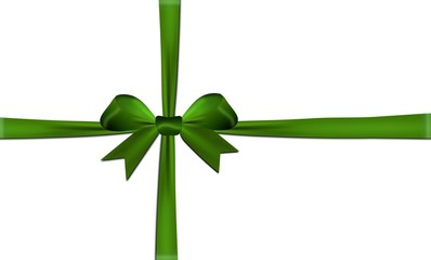 Ribbons crossed with green bow isolated