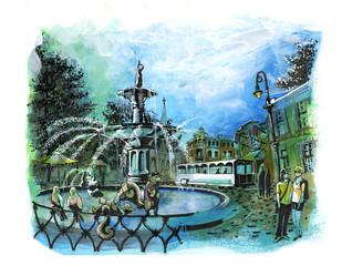savannah georgia beautiful fountain  tourist place illustration