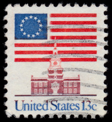 USA - CIRCA 1980: A stamp printed in USA shows The national flag