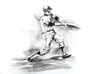 Baseball batter player hitting drawing