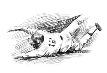 Baseball player home run slide drawing