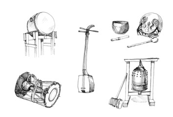 Japanese traditional instruments drawing, drums, guitars