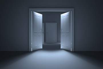 Door opening in dark room