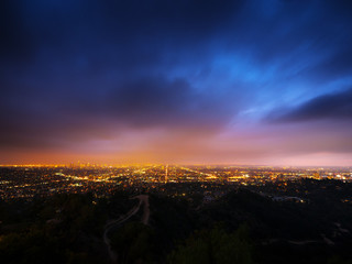 Klistermärke - Los Angeles city panorama at night