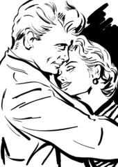 croquis noir et blanc couple homme et femme enlacé, amour