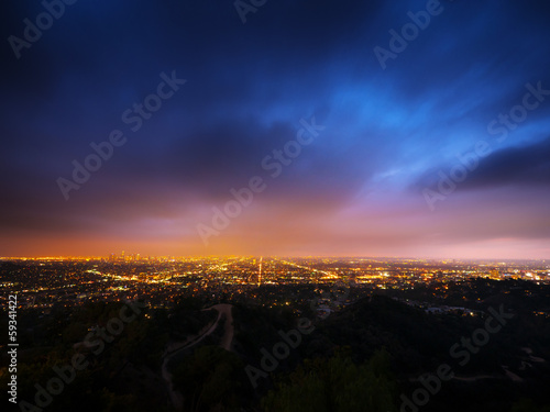 Fotobehang Los Angeles city panorama at night