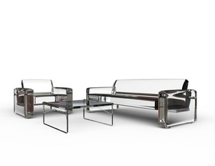 Transparent Glass Sofa And Armchair