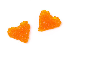 two hearts of red caviar, isolated