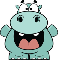 Hooray Blue Hippo Cartoon