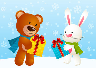 Funny bear and cute rabbit