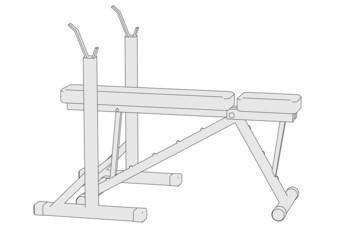 cartoon image of benchpress machine
