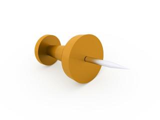 Single orange push pin rendered isolated