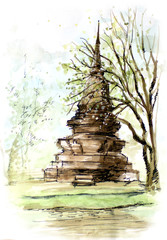 thailand ancient  temple water color painting