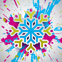 Snowflake, vector design element, new yer, color bomb