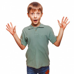 teenager kids boy raised his hands up baby surprised