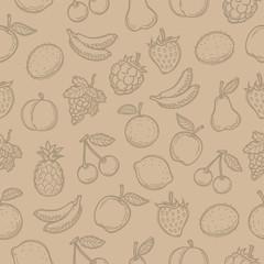 Pattern doodle drawn fruits