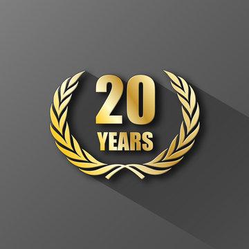20 YEAR ANNIVERSARY Icon (twenty years wreath prize birthday)