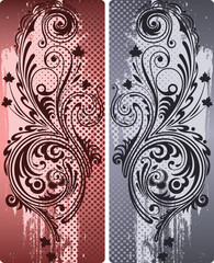 Two versions of the ornamental composition in color.