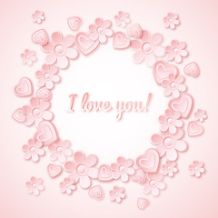 pink background with  valentine heart, flowers and wishes text,