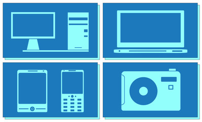 set computer, tv, photo and smartphone objects