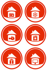 red icons for home technical accessories sale