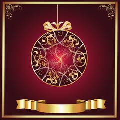 Artistic-Burgandy & Gold Ornament