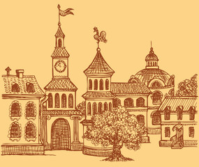 Vector doodle cityscape. Panorama fabulous old town square