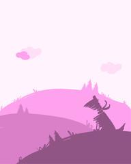 Dog silhouette, dawn landscape for your design