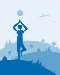 Yoga at dawn, landscape for your design