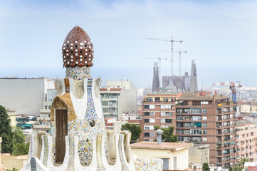 Panorama of Barcelona taken from Park Guell, Spain