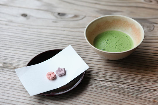 Japanese Maccha, green tea, and sweets during tea ceremony