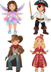 cute teens in costumes of pirate, fairy, cowboy and princess