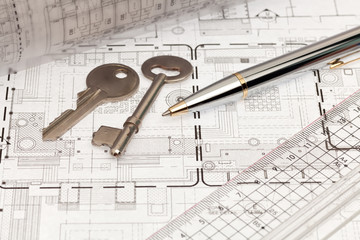 Architecture work with design print and key