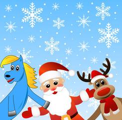 blue horse, Santa claus and deer