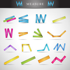 Measure Icons Set - Isolated On Gray Background