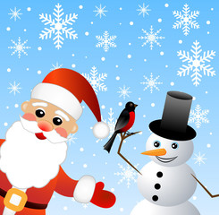 Santa claus and snow man