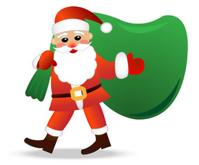 Santa claus with a sack on a white background