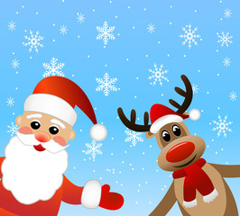 Santa claus and deer