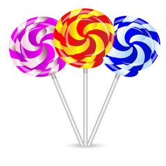 bright lollipops on a white background