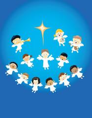 Angels praising the birth of Jesus